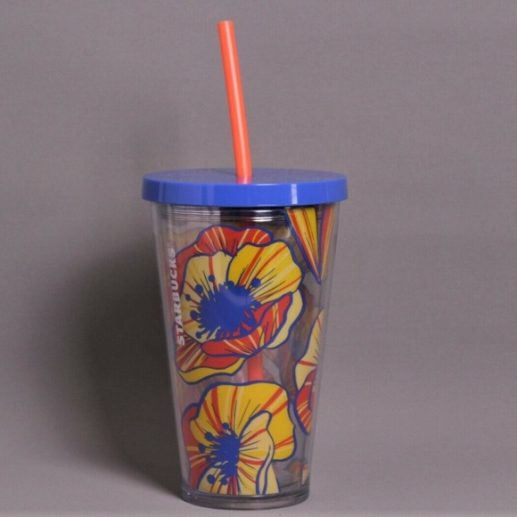 d0e809da975 Starbucks Accessories | Yellow Orange Floral Tumbler Cup 16 Oz ...